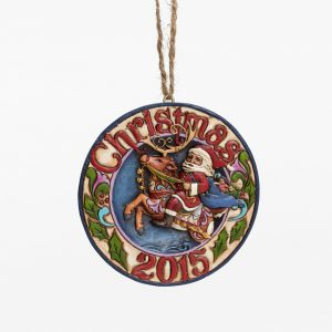 Dated 2015 Santa Reindeer Ornament