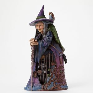Witch with Cat Behind Gate