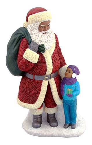 Ebony Santa with Boy 17071