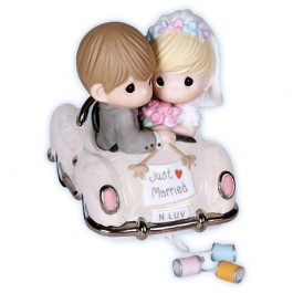 Precious Moments Porcelain Bride and Groom Just Married Wedding Figurine 103018